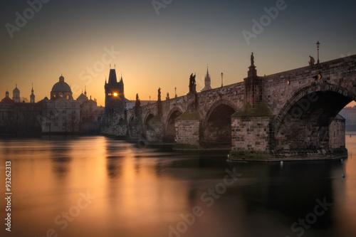 Staande foto Praag Charles bridge sunrise in Prague, Czech republic