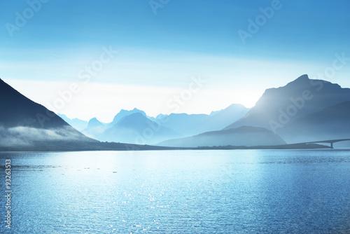 Wall Murals Blue mountains, Lofoten islands, Norway