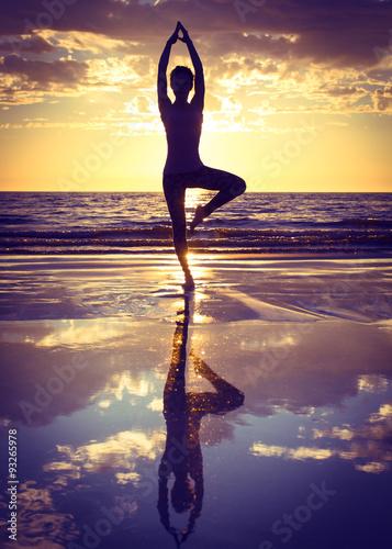 woman practicing yoga Canvas Print