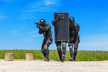 SWAT Officers With Ballistic S...