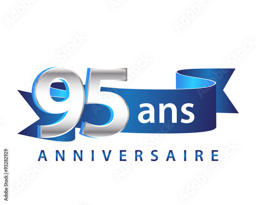95 Ruban Bleu Logo Anniversaire Buy This Stock Vector And