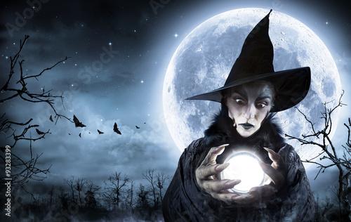 Fotografie, Obraz  Halloween čarodějnice jasnovidec V strašidelné noci