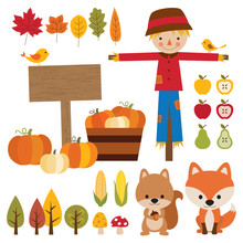 Vector Illustrations Of Fall Graphic Elements.