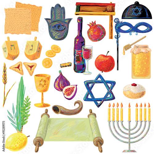 Fotografie, Tablou Jewish holidays set Israel holidays