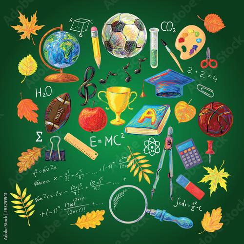 Plakat na zamówienie Szkolny wzór młodzieżowy na zielonym tle