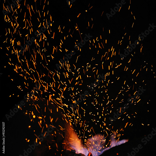 Aluminium Prints Firewood texture Embers and Flames of a smith's forge