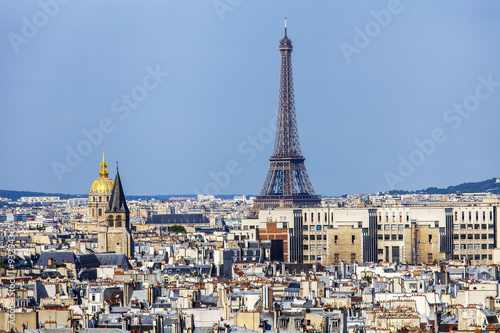Aluminium Prints Paris PARIS, FRANCE, on AUGUST 30, 2015. A view of the city from a survey platform on Notre-Dame de Paris. This look is one of the most beautiful views of Paris from above