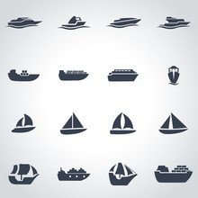 Vector Black Ship And Boat Ico...