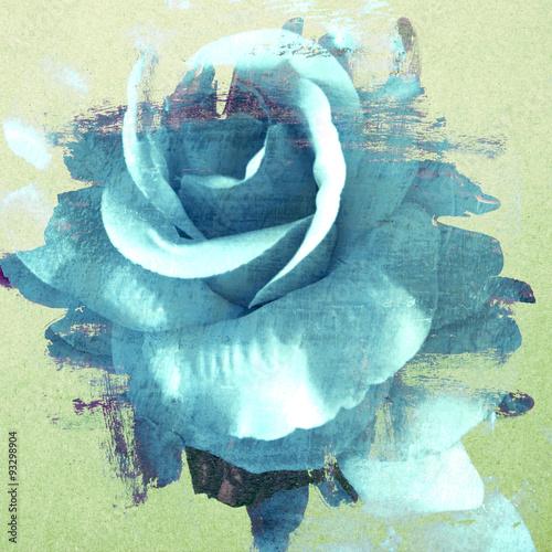 vintage-rose-malowane-pedzlem-na-tle-sciany