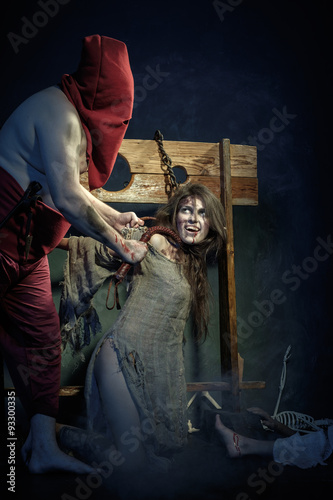 Fotografie, Obraz  Halloween. The Middle Ages. Execution witches.