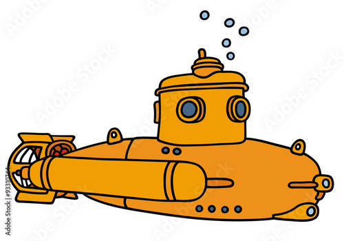 Láminas  Yellow small submarine / Hand drawing, not a real type