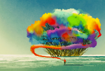 Fototapeta Abstrakcja man draws abstract tree with colorful smoke flare,illustration painting