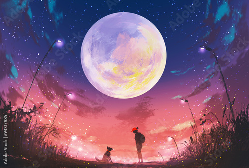 mloda-kobieta-z-psem-w-pieknej-nocy-z-ogromnym-ksiezycem-powyzej-ilustracja-malarstwo