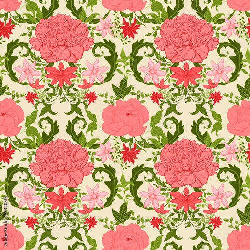 Vintage floral background Wallpaper Mural