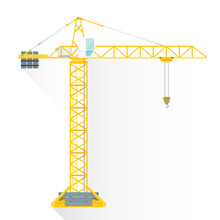 Vector Flat Style Yellow Tower Building Crane Illustration Icon.