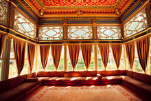 Turkish Sofas And Colorful Ceiling In Traditional Ottoman Room Of The 15th Century Topkapi Palace In Istanbul