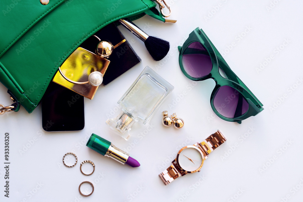 Fototapety, obrazy: Top view of female fashion accessories