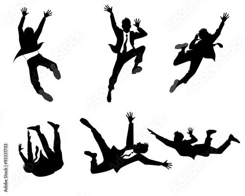 Tableau sur Toile Six businessman silhouettes