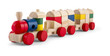 canvas print picture - Wooden toy train with colorful blocs isolated over white