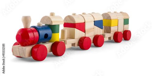 Fotografie, Obraz  Dřevěný vláček s barevnými bloky samostatný přes bílý