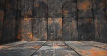 Rusty Metal Room As Background