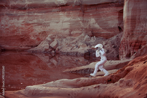 Poster Bordeaux Water on Mars, futuristic astronaut, image with the effect of