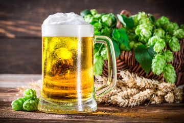 Fototapeta Do gastronomi Fresh and cold beer in glass