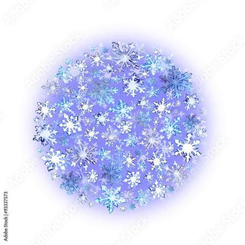 Foto op Canvas Bloemen Snowflakes. Christmas circle background. Winter watercolor