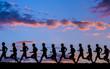 canvas print picture - Silhouette  eines Joggers im Sonnenuntergang