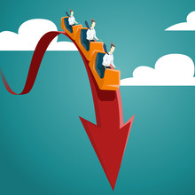 Businessman Is Riding On A Roller Coaster. Vector Financial And