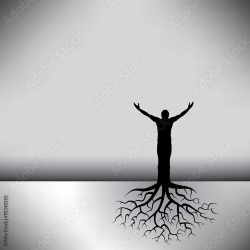 Fotografia  This black & white vector background has a man with tree roots