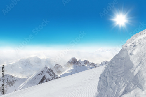 Fototapety, obrazy: Ski slope in the mountains