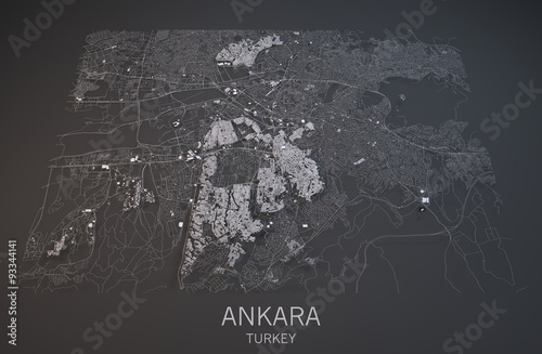 Fotografie, Obraz Cartina di Ankara, vista satellitare, sezione 3d, capitale Turchia