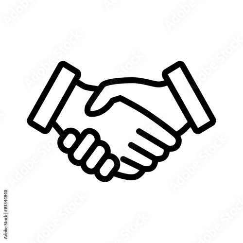 Fotografie, Obraz  Business agreement handshake line art icon for apps and websites