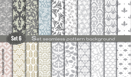 Poster Kunstmatig Vector damask seamless pattern background.pattern swatches included for illustrator user, pattern swatches included in file, for your convenient use.