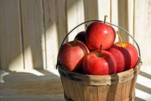 Red Apples In Wooden Bushel Basket In Striped Sunlight