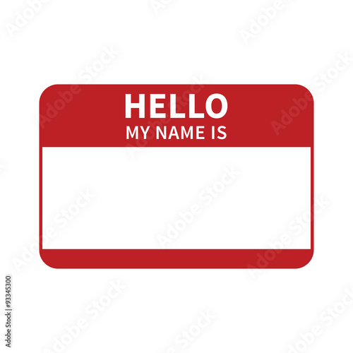 Fototapeta Hello, my name is introduction red flat label