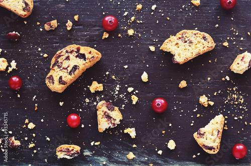 Fotografija Cranberry biscotti on wooden background