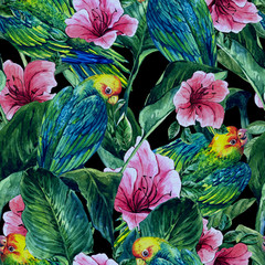 Panel Szklany Natura Seamless Background with Tropical Leaves, Parrots and Hibiscus