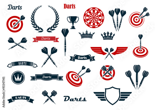 Stampa su Tela Darts game ditems and heraldic elements