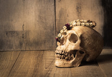 Human Skull And Garland Jasmin...