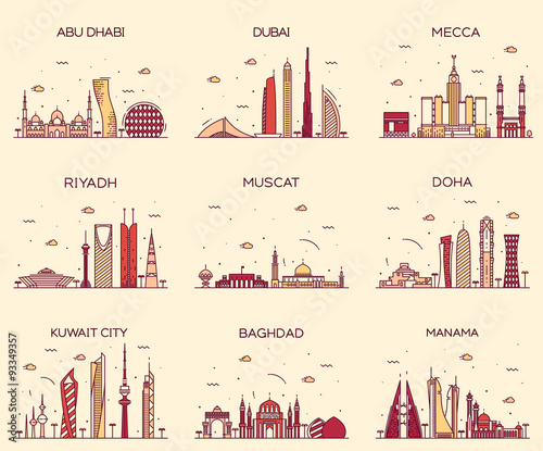 Photo  Arabian peninsula skylines line art style vector