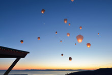 Paper Floating Lanterns Release On Grouse Mountain
