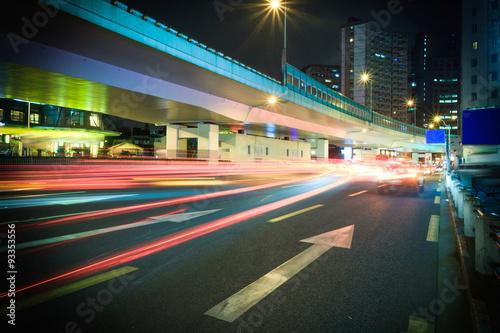 Foto op Aluminium Nacht snelweg Empty highway