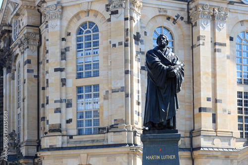 Poster Monument Martin Luther monument on Neumarkt in front of Frauenkirche, Dresden