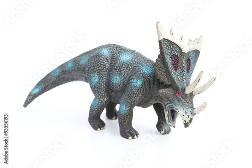 styracosaurus toy on a white background