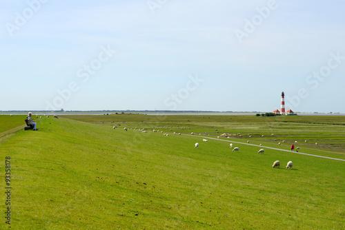 Spoed Foto op Canvas Noordzee Westerhever Leuchtturm - Nordsee