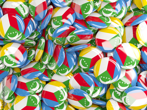 Poster Graffiti Background with round pins with flag of comoros