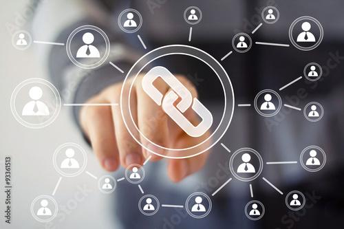 Fotografia  Businessman hand press icon button web link