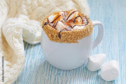 Foto op Plexiglas Chocolade Smores hot chocolate